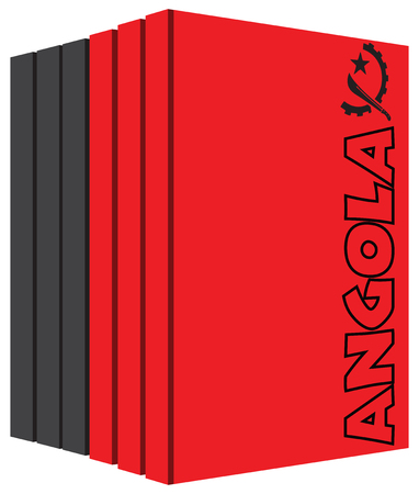 bibliography: Books about Angola, six books, covers in the color of the national flag of Angola. Illustration