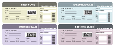 economy class: Set Plane tickets given four options class. Illustration