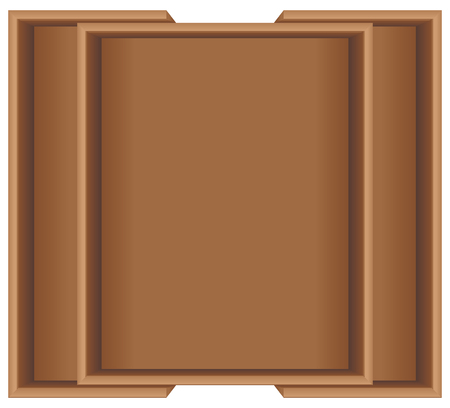 size: Wooden container is transformed to the size of the kitchen drawer.