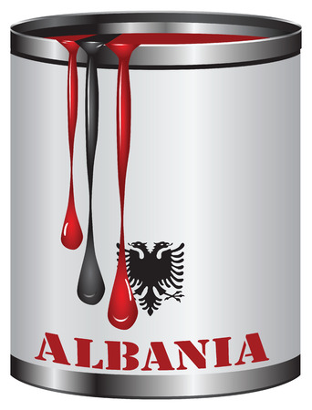 paint can: Black and red paint in a can, the color of the flag of Albania.