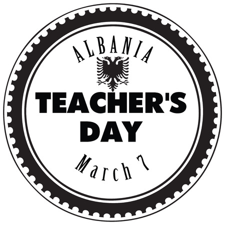 The symbol of the national holiday of Albania on 7 March. Teachers Day in Albania.