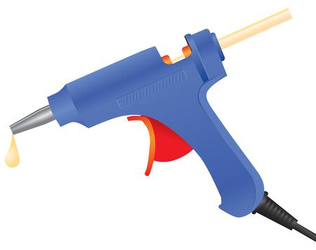 Electric hot glue gun with glue sticks. Vector illustration. Çizim