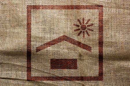 sackcloth: To protect the cargo from the suns rays, the stamp imprint on sackcloth. Stock Photo