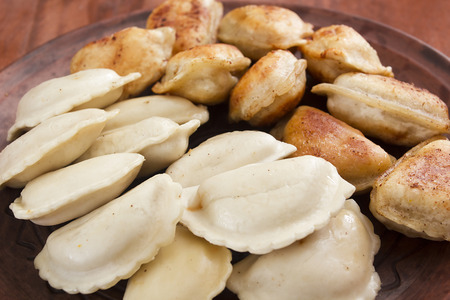 with fillings: Dumplings with various fillings - traditional cooking food in many countries. Stock Photo