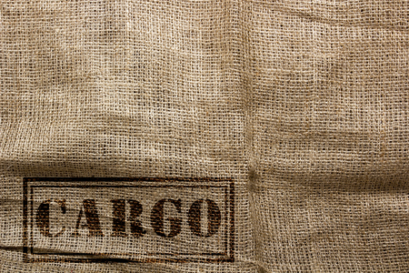 sackcloth: Stamp on the sackcloth of cargo transport of goods. Stock Photo