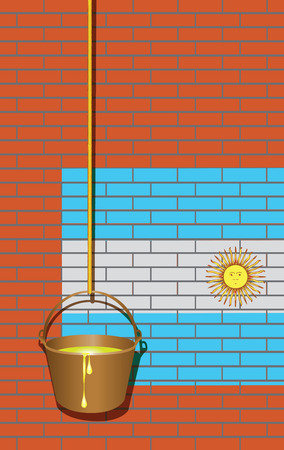 yellow paint: Industrial brick wall with the flag of Argentina and a bucket of yellow paint on a rope.