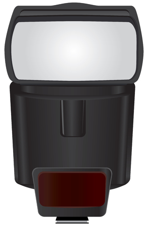 Modern flash for the camera. Professional extra flash in a plastic case.