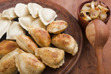 Vareniks fried in butter and cooked in water - traditional cooking food in many countries.