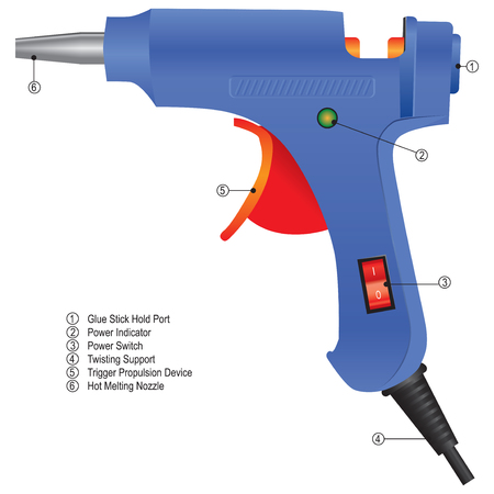 Industrial glue gun with technical instruction of functional units.