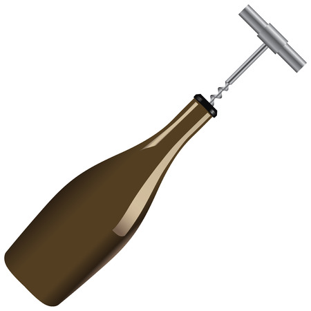 Wine bottle with a corkscrew, removing cork from the bottle.