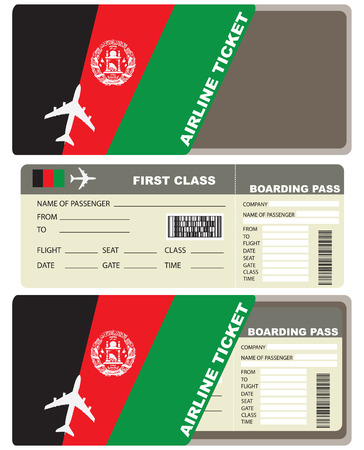 first plane: Plane ticket first class in Afghanistan. Vector illustration.