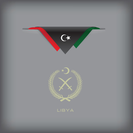token: Banner Libya with the national symbols of the country, and the colors of the flag.