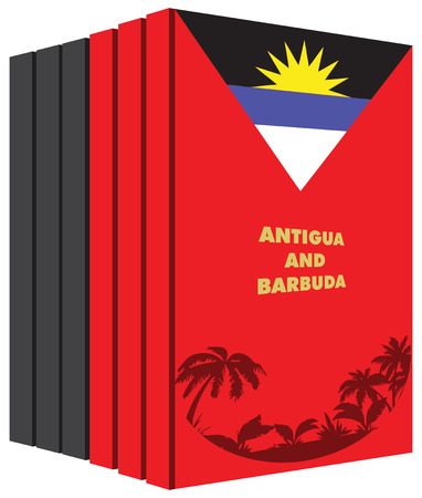 pile of documents: Books about the country of Antigua and Barbuda. Illustration