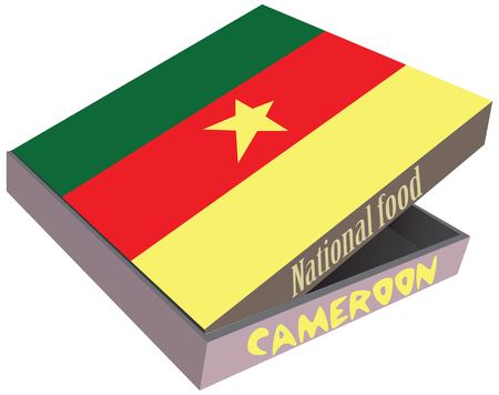 millet: The symbol of the national cuisine of Cameroon. Cardboard box with delivery, the box the national flag of Cameroon. Illustration