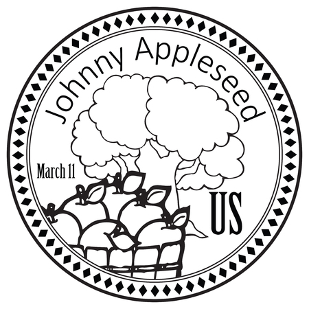 National holiday for John Chapman - Johnny Appleseed, march 11 Illustration