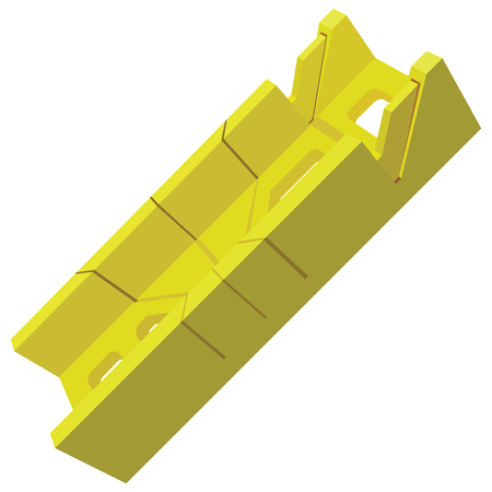 miter: Plastic miter box for industrial work. Vector illustration.