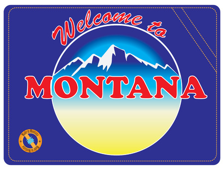 Invitation to Montana, United States. Road sign Welcome to Montana. Векторная Иллюстрация