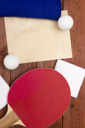 Creative on the topic of table tennis. Racket and accessories for table tennis.