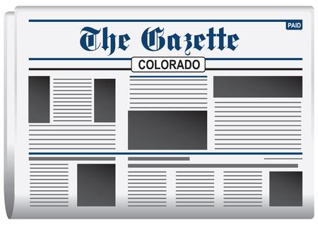 newspaper headline: Newspaper The Gazette, Colorado US. Daily news bulletin.