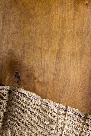 sackcloth: Background made of old sackcloth on wooden table or floor Stock Photo