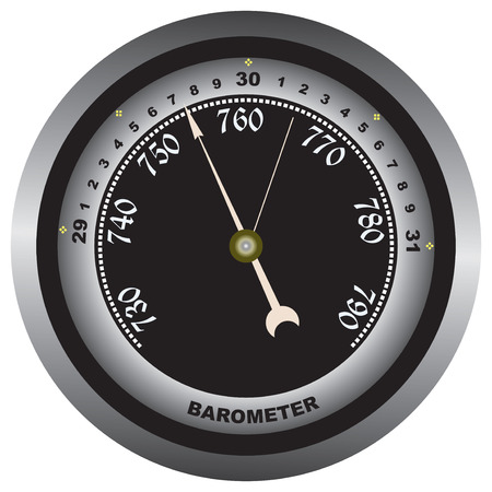 atmospheric: Pointer instrument for measuring atmospheric pressure. Vector illustration.