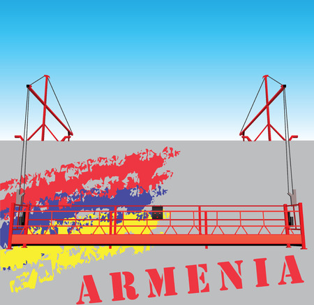 armenian: Industrial building with construction hoist for builders. On the wall of the Armenian flag.
