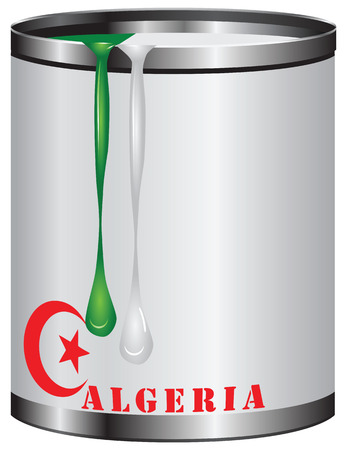 paint tin: Tin with green and white paint - the paint color combination Algeria flag. Illustration