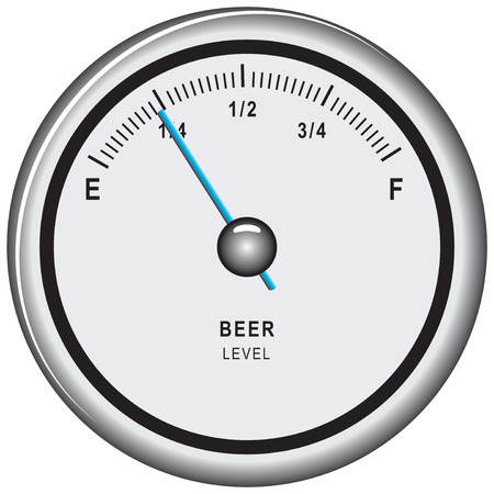 stainless steel pot: Pointer level indicator of beer. Comic information. Illustration