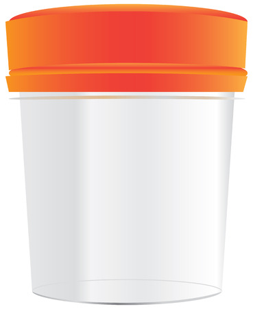 Plastic cup with a tight cover for medical purposes.