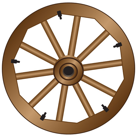 Wooden wheel for an old wagon. Vintage wooden wheel.