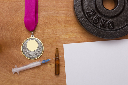 obtained: Creative reception problems of doping. Medal obtained through use of doping. Stock Photo