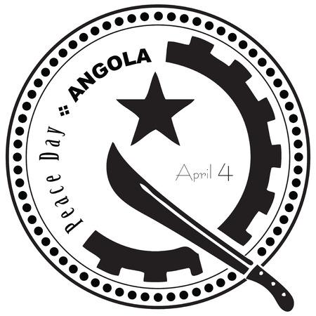 4 월 4 일에 앙골라에서 평화 기념일을 상징하는 스탬프. 일러스트