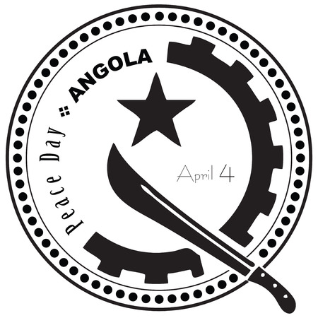 Stamp - symbol Peace Day in Angola on 4 April. 向量圖像