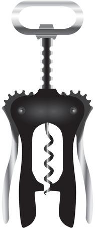 Modern corkscrew for sealing wine bottles. Vector illustration.