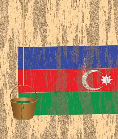 ruined house: Azerbaijani flag on the wall of a ruined house. Damaged by the time the house wall. Illustration