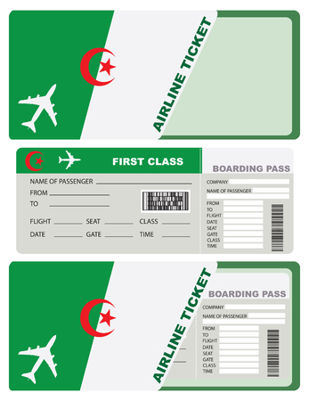 economy class: The ticket for the trip to Algeria. A ticket to the service packaging envelope. Illustration