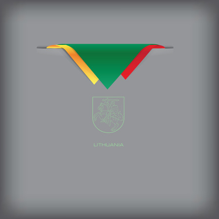 Banner Lithuania with the national symbols of the country, and the colors of the flag.