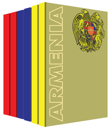 Books about the country of Armenia. Symbol flag.