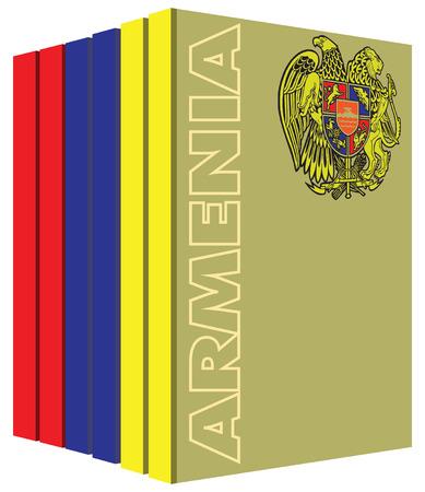 Libros sobre el país de Armenia. la bandera del símbolo. Foto de archivo - 53120680