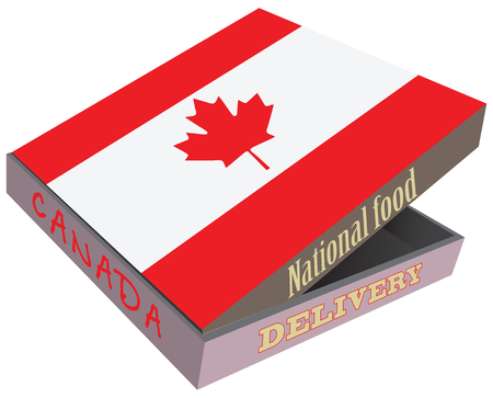 The symbol of the national cuisine of Canada. Cardboard box with delivery, the box the national flag of Cameroon.