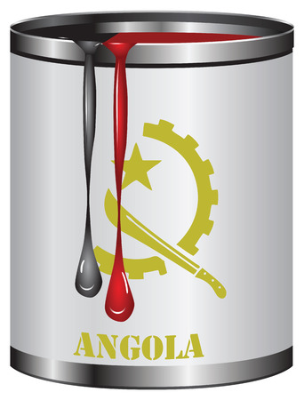 color match: Paint in a can match the color of the flag of Angola.