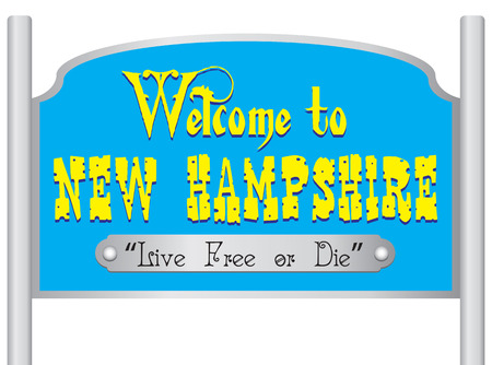 city live: Welcome to new hampshire sign,  live free or die. Illustration