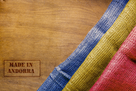 sackcloth: Made in Andorra. The national flag of Andorra stylized sackcloth. Stock Photo