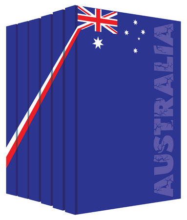 Books about the country of Australia. Symbol flag.