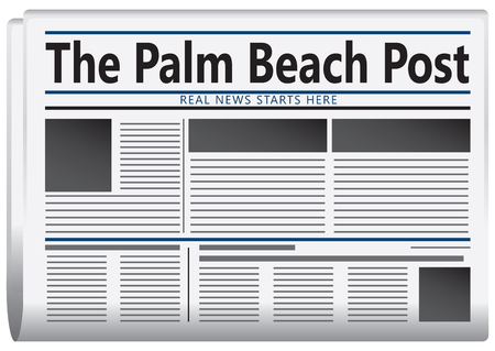 newspaper headline: The real news starts here. The newspaper is published  - The Palm Beach Post. Illustration