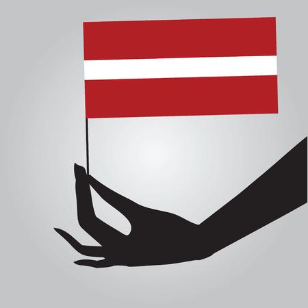 Flag of Latvia in a female hand. illustration. 向量圖像