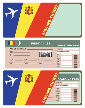 first plane: Plane tickets to first class, the country of Andorra.