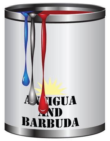 antigua: Paint in a can match the color of the flag of Antigua and Barbuda.