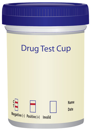 Plastic beker om te testen op drugs. illustratie.