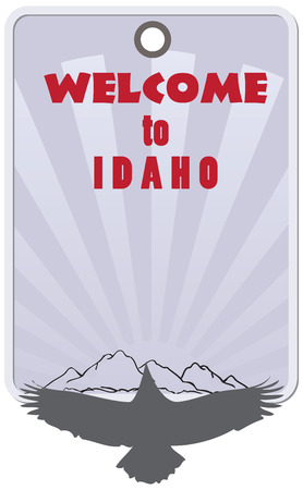 qualify: Stylish label for Idaho, United States. Label Welcome to Idaho.